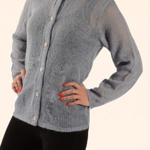 Fine Button Up Front Round Neck jersey