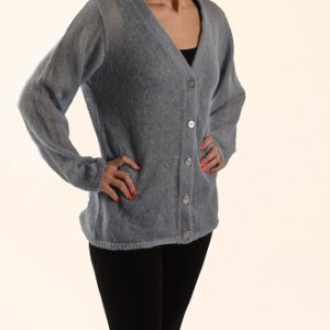 Fine Button Up Front V-Neck jersey