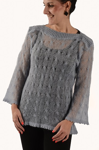 Fine Cable Knitted Sweater with Ribbed Boatneck